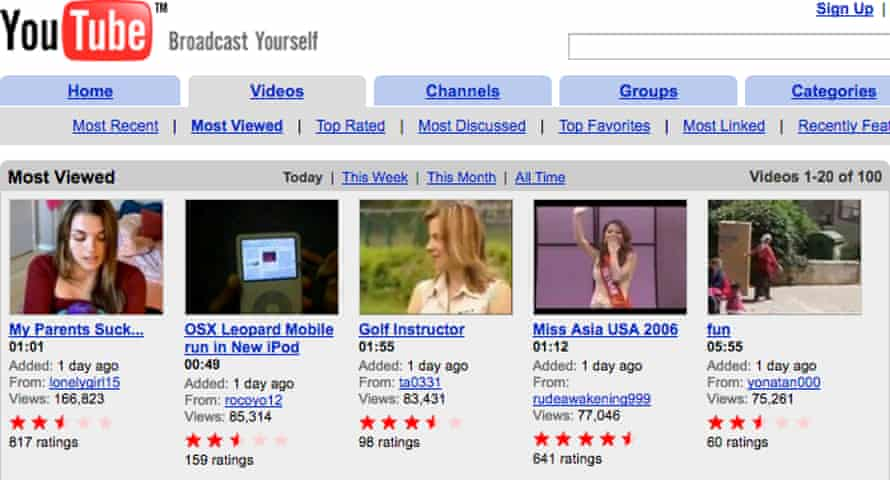 What YouTube's most viewed section looked like in July 2006, with Lonelygirl15's video at the top