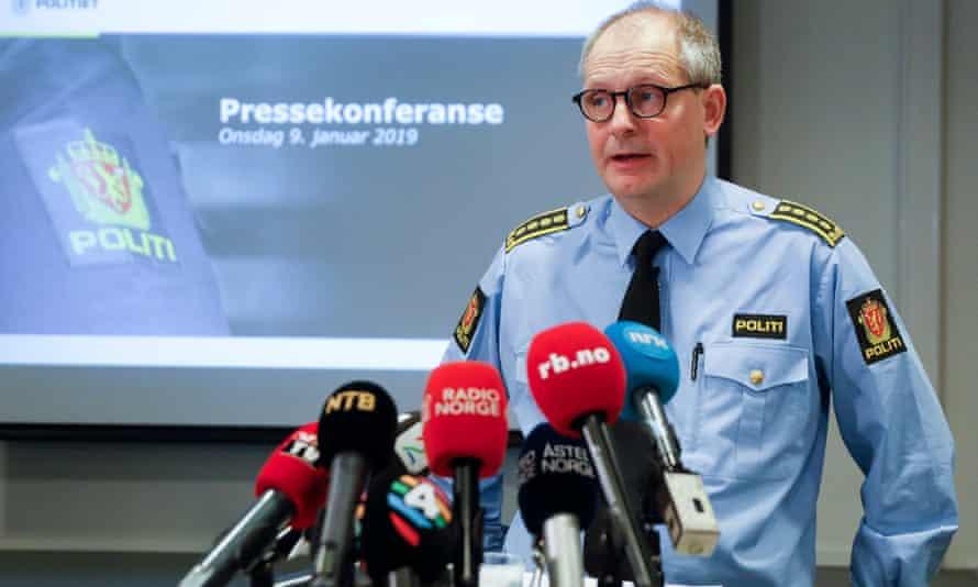 Police inspector Tommy Brøske at a press conference in Lillestrom