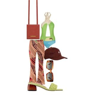 Peter Bevan, Fashion assistant 'Prints and colour give a summer holiday vibe' Flares, £38, urbanoutfitters.com. Cap, £65, norseprojects.com. Sunglasses, £170, gigistudios.com. Bag, £280, jacquemus.com. Swimsuit, £54, houseofsunny.co.uk. Mules, £395, dearfrances.com