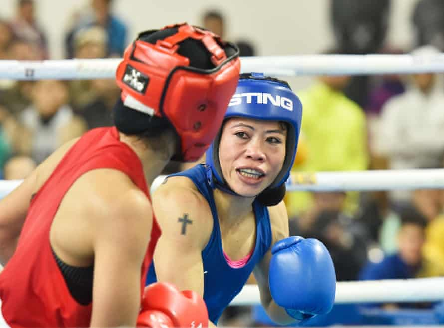 Six-time world champion Mary Kom (in blue) on her way to defeating Nikhat Zareen by a split verdict, at the Olympic 2020 qualifiers in December 2019