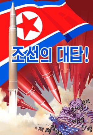 A propaganda poster with loaded imagery reads, 'Our answer!'