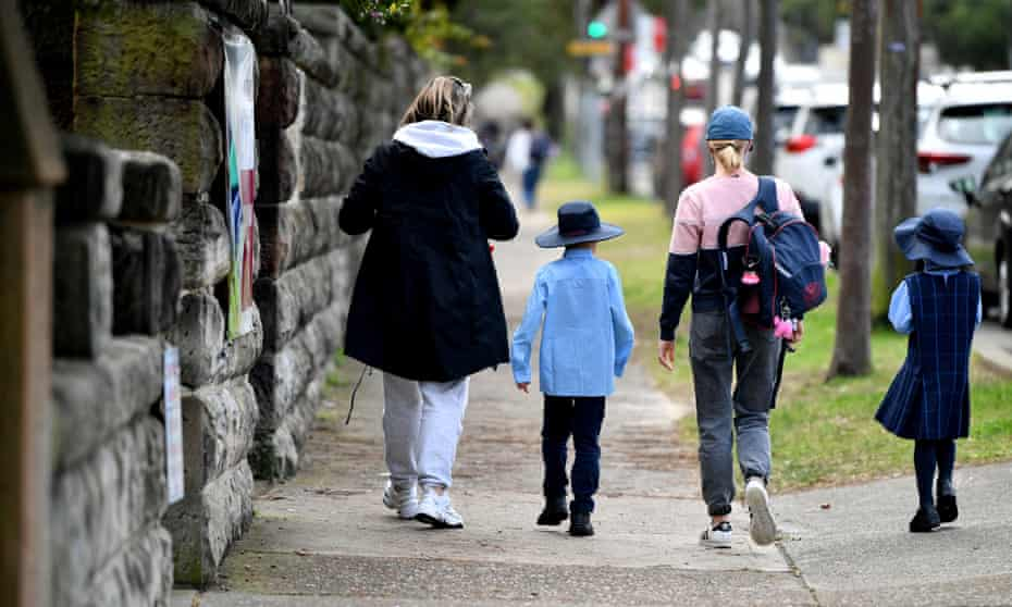 Parents collect children at St Charle's Primary School in Sydney
