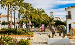 Picturesque square of the village of Aracena. Aracena, Huelva, Andalusia