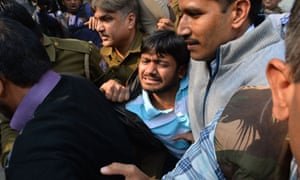 Jawaharlal Nehru University's student union leader, Kanhaiya Kumar, is escorted by police to court this week.