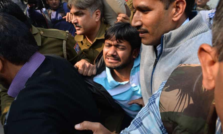 Jawaharlal Nehru University's student union leader, Kanhaiya Kumar, is escorted by police to court this week.