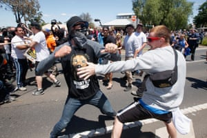 Protesters from Reclaim Australia and an anti-racism group clash during a rally held in Melton on 22 November. Reclaim Australia say the country is 'losing our voice and our national character' while opponents say Islamaphobia is a divisive force in a multi-cultural society