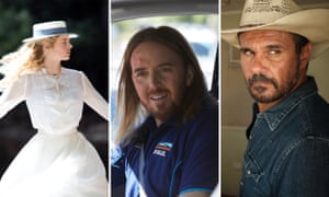 L-R: Samara Weaving in Picnic at Hanging Rock, Tim Minchin in Squinters, Aaron Pedersen in Mystery Road