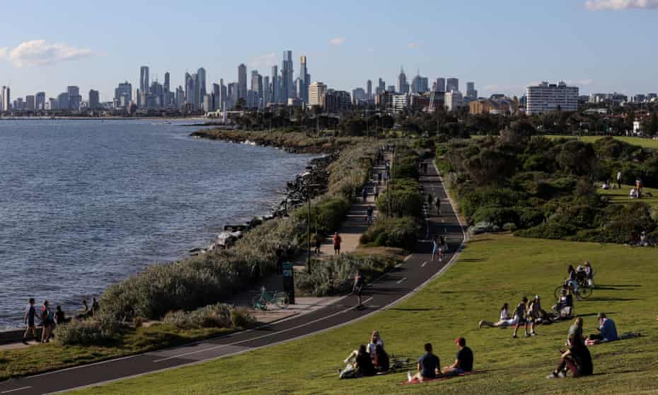 A general view of the city of Melbourne from Elwood Beach