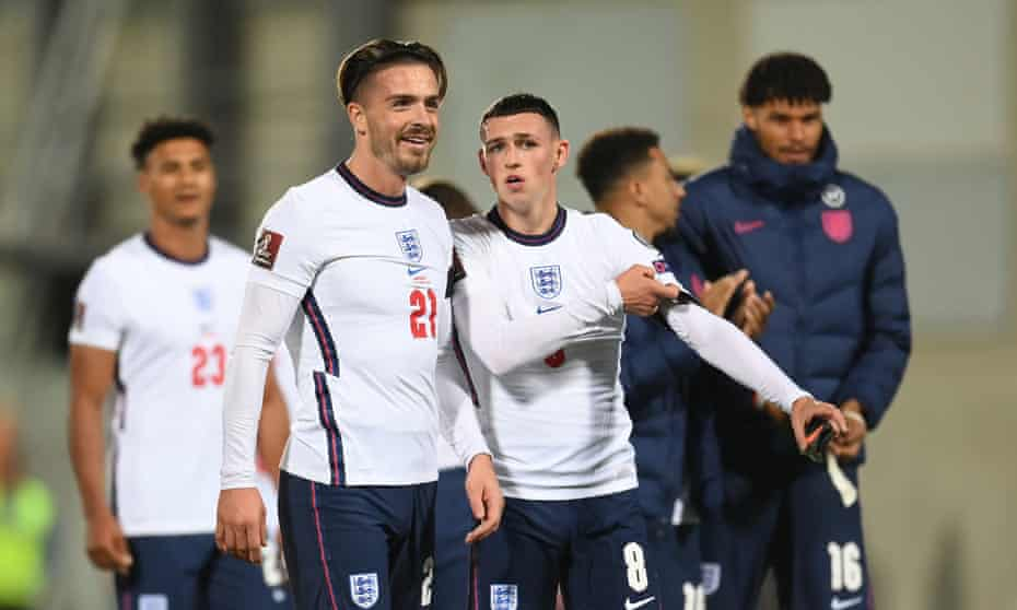 Phil Foden with Jack Grealish at the end of England's 5-0 victory