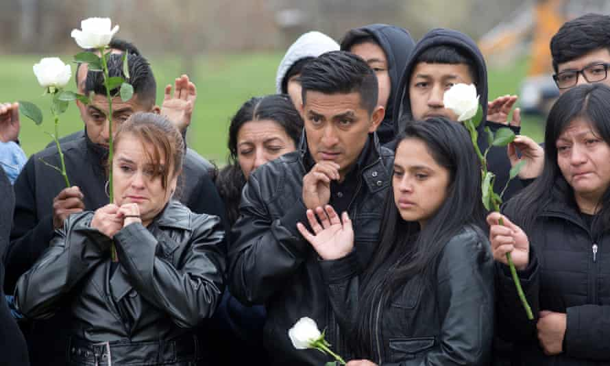 Family and friends of Justin Llivicura, 16, at his funeral on Long Island.