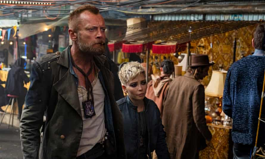 Richard Dormer as Captain Sam Vimes, Marama Corlett as Corporal Angua in The Watch.