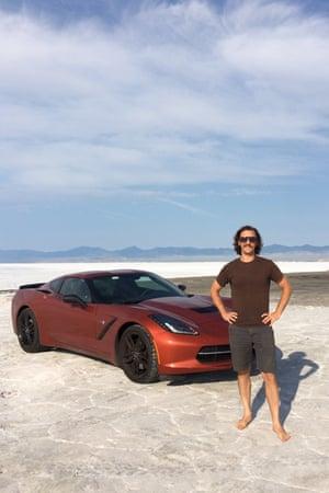 Benjamin Preston at the Bonneville Salt Flats in Utah