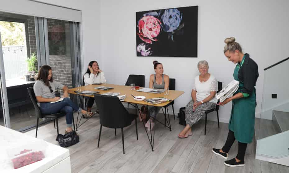 Left to right: author Celina Ribeiro, Lainie Saiz, Holly Bishop and Denise McGlinchy watch Hannah Phelps' Thermomix demonstration