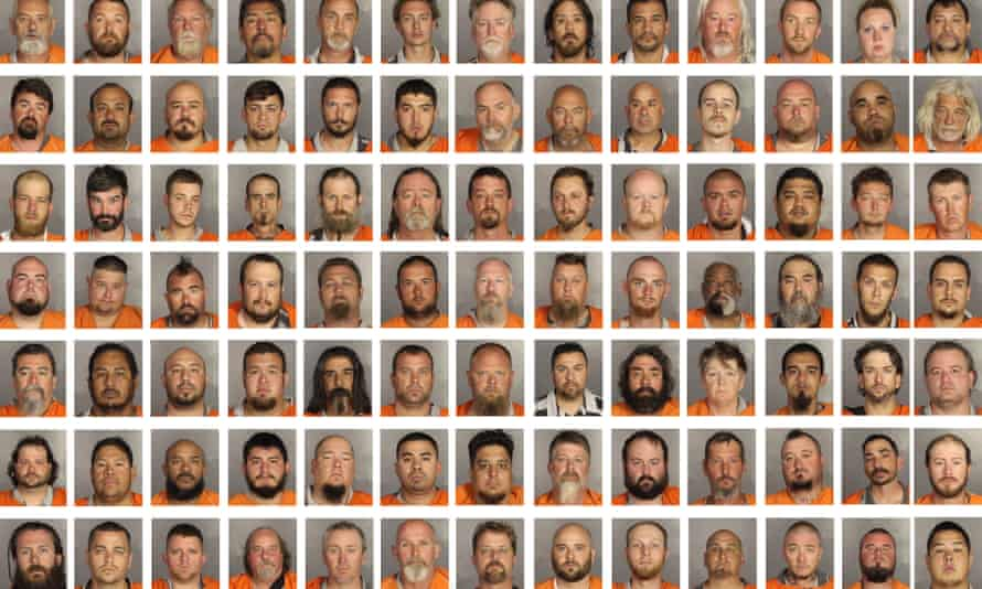 A composite image of the bikers arrested in the May shooting.