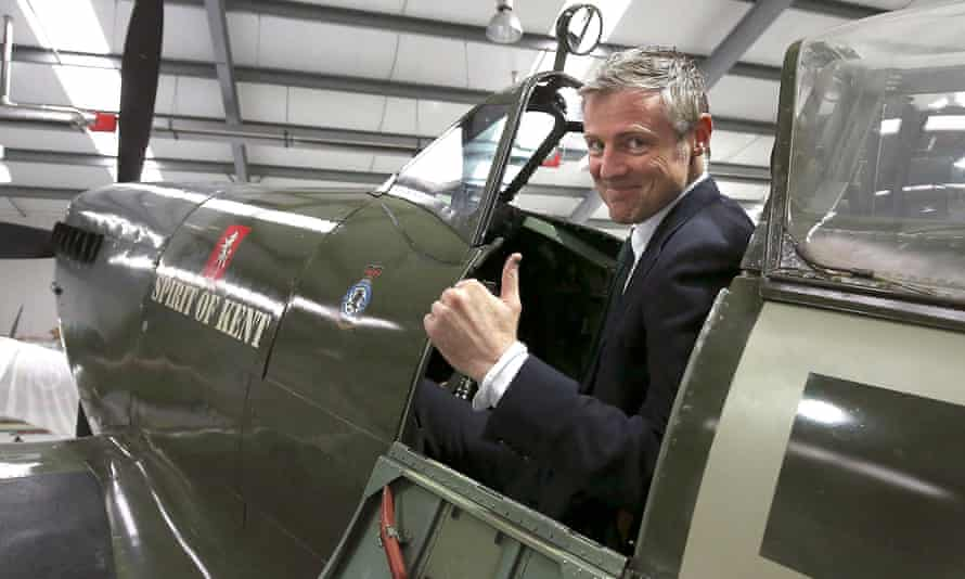 Turbulence ahead? Zac Goldsmith in a Spitfire during a tour of Biggin Hill Heritage Hangar in south London on Friday 15 April.