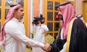 A tense meeting between murdered journalist Jamal Khashoggi's eldest son, Salah, and Saudi crown prince Mohammed bin Salman in Riyadh in October.