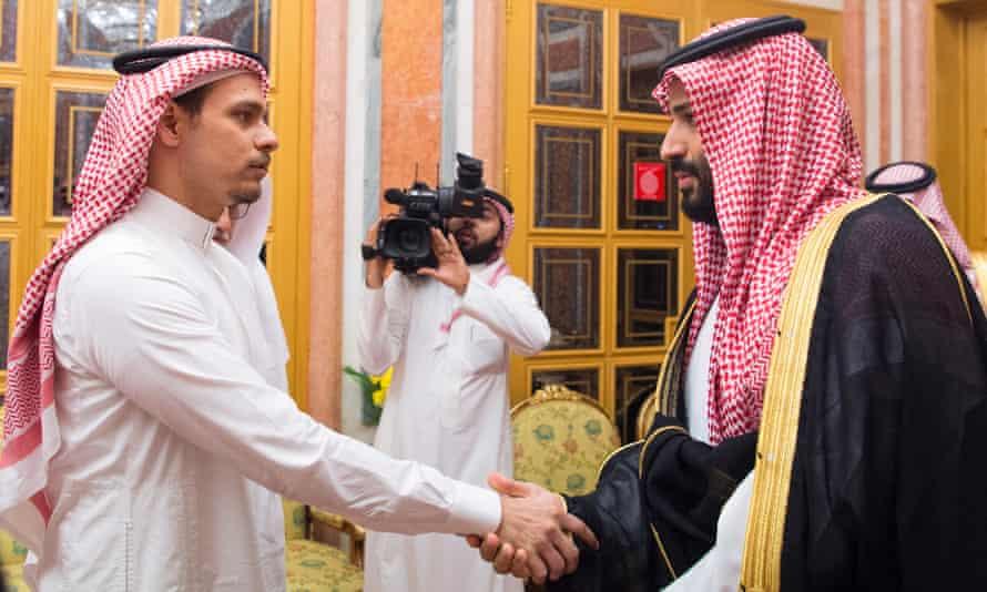 Mohammed bin Salman meets Salah bin Jamal Khashoggi, son of Jamal Khashoggi.