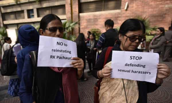 A demonstrator protests against Pachauri outside the offices of Teri in New Delhi.