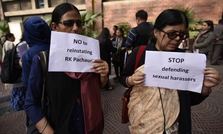 Women's groups protesting against Rajendra Pachauriin Delhi earlier this year.