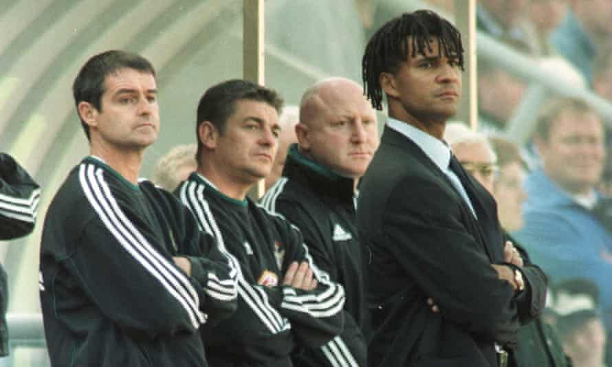 Gullit watches from the dugout at St James' Park during his spell as Newcastle United manager in 1999.