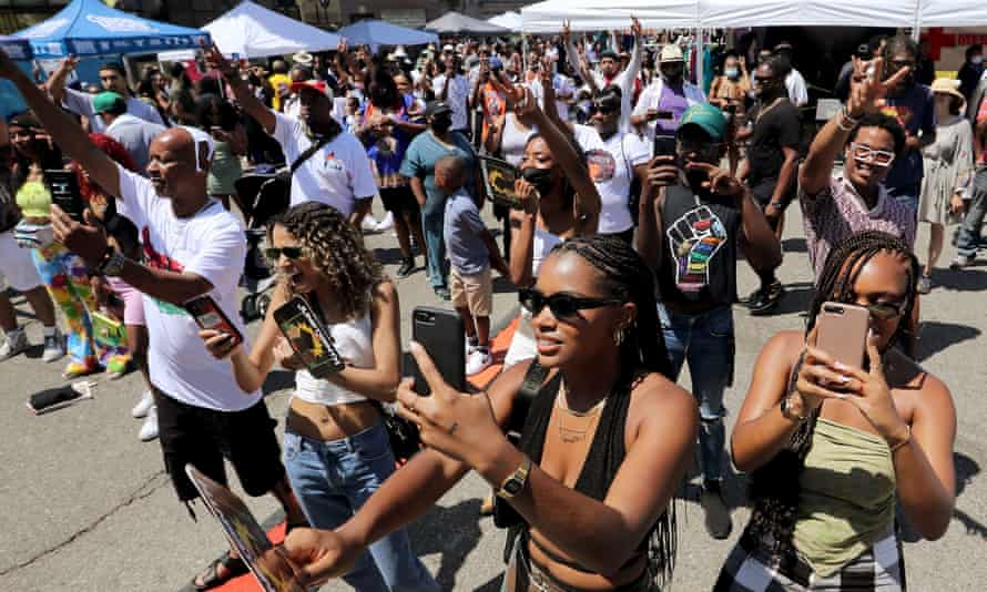 People attending a recent Juneteenth celebration in Los Angeles.