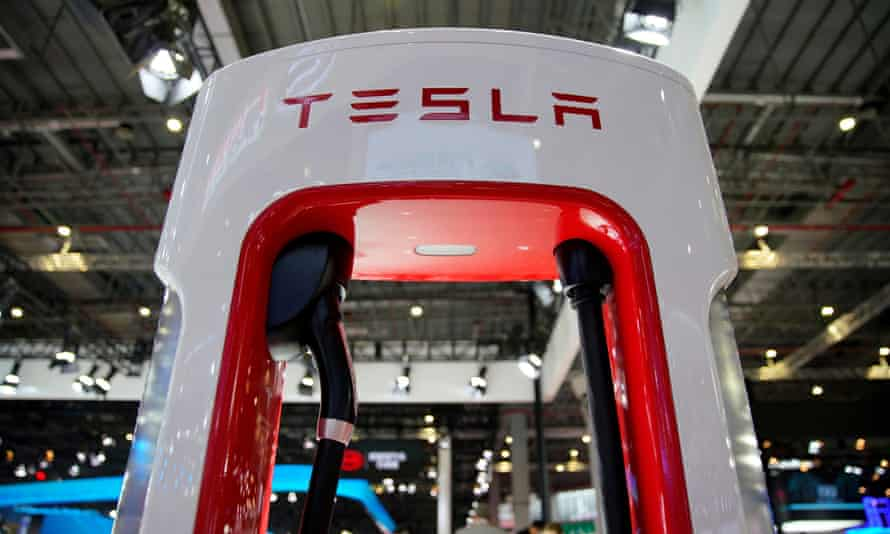 A Tesla charging station is pictured during the media day for the Shanghai auto show in Shanghai, China, on 16 April 2019.