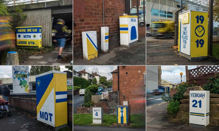 Andy McVeigh has been daubing dull electric boxes near Elland Road, replacing the lifeless green with vibrant Leeds United-themed murals. Photos by Joshua Elliff