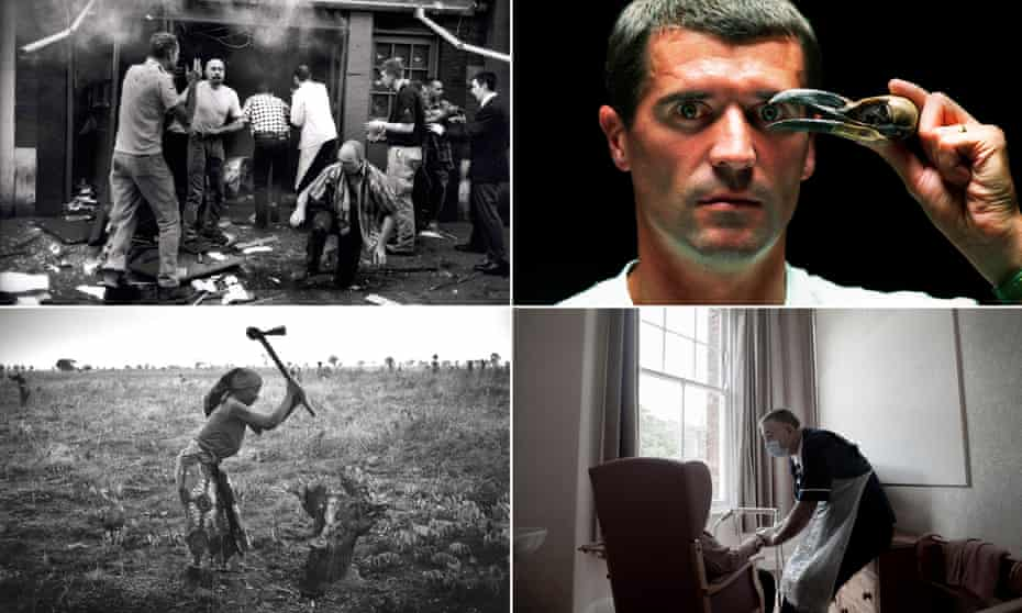 A composite of four photographs: a black and white photo of men standing in the shattered and smoky interior of a pub; a close-up of Roy Keane, holding a raven's skull to his face so that the beak frames his eye; a worker bending over a resident, largely invisible in a winged armchair, with light coming in at the window; a black and white photo Angolan woman chopping up a tree stump, with the axe held high above her head