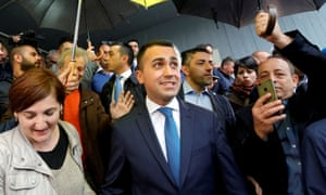 Italian deputy prime minister and Five Star leader Luigi di Maio after casting his vote in the European election in Pomigliano d'Arco.