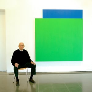 Ellsworth Kelly photographed in March 2006 at the Serpentine Gallery. Pictured behind is the artwork Green Relief over Blue, 2004
