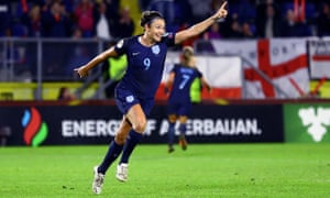 Jodie Taylor celebrates scoring England's second goal against Spain at Women's Euro 2017.