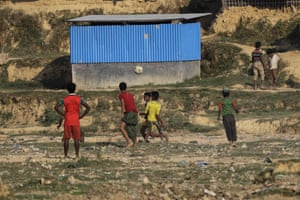 Kutupalong, BangladeshRohingya children play soccer at a refugee camp. Since late August, more than 620,000 Rohingya have fled Myanmar's Rakhine state into neighbouring Bangladesh, seeking safety from what the military described as clearance operations.