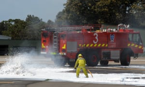 Firefighters during a training exercise at Sydney airport