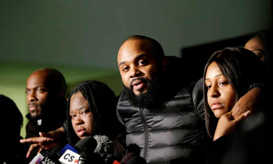 Activist William Calloway speaks to reporters after former Chicago police officer Jason Van Dyke was sentenced to six and three-quarter years in prison for the fatal shooting of Laquan McDonald.