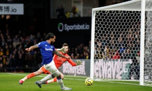 Theo Walcott scores Everton's third goal against Watford.