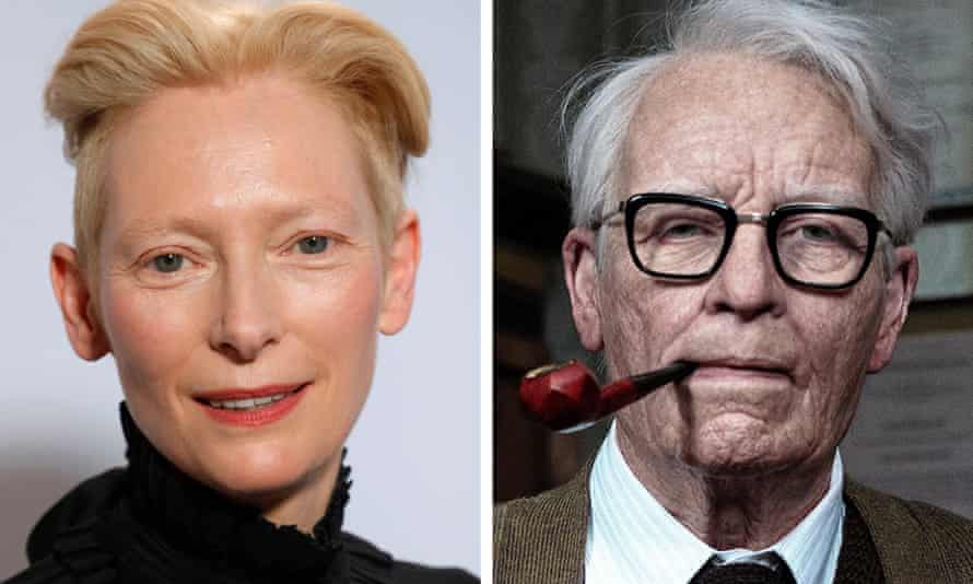 composite of Tilda Swinton as herself and in prosthetic makeup as the actor Lutz Ebersdorf