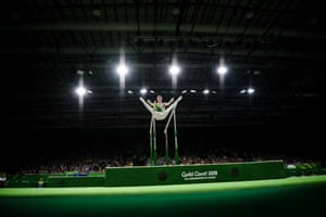 Northern Ireland's Rhys McClenaghan competes on the parallel bars during the men's individual all-around final in artistic gymnastics.