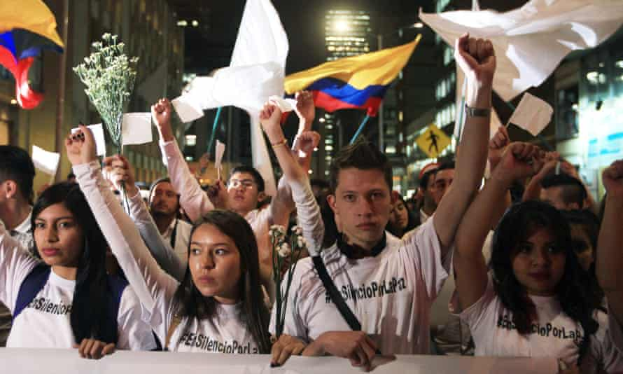 Hundreds of Colombians marching