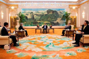 Beijing, ChinaThe Chinese premier, Li Keqiang (c) and foreign minister Wang Yi (2-r) meet the South Korean and Japanese foreign ministers at the Great Hall of the People
