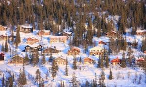 View over houses in Vemdalen, Sweden