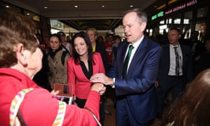 Bill Shorten with members-elect including Emma Husar during a visit to Penrith.