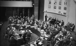 A picture taken on September 22, 1948 during the third United Nations Assembly at the close of which, on 10 December, the Universal Declaration of Human Rights at the Palais de Chaillot in Paris.