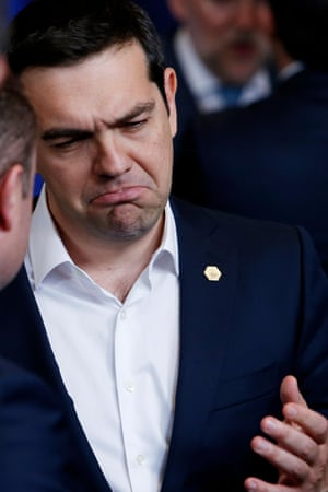 Greek prime minister Alexis Tsipras gestures during the EU summit in Brussels