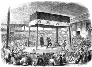Wood engraving from An English newspaper in 1868 showing a sumo wrestling competition in Osaka, Japan