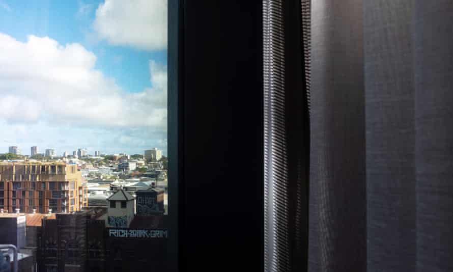 View from a Sydney hotel room window during a two-week mandatory quarantine in October 2020.