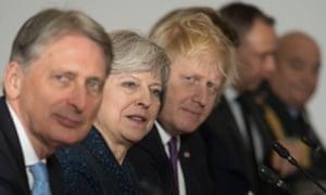 Philip Hammond, Theresa May and Boris Johnson.