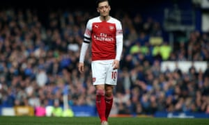 Mesut Özil's was captain for Arsenal but was taken off after an ineffective display.