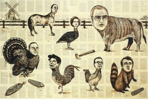 'In Animal Farm ((1989 – ongoing), depictions of world leaders, each with the body of a beast, overlay Orwell's parable.' Painting by Tim Rollins and the KOS; courtesy Maureen Paley, London