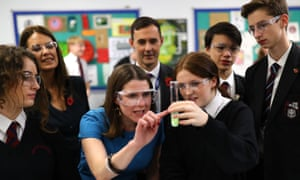 The Lib Dem Jo Swinson during a visit to Hinchley Wood school in Surrey.