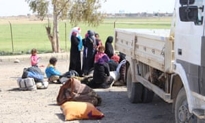 Civilians at Ain Issa refugee camp